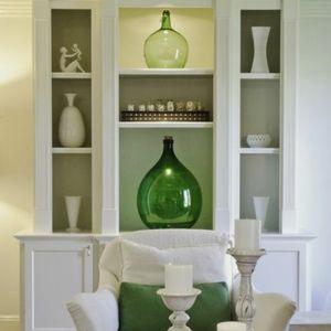 Green glass big vase home decore accent piece
